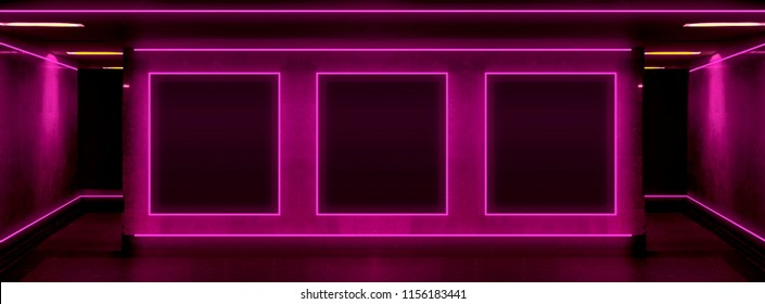 Background of an empty black corridor with neon light. Abstract background with lines and glow