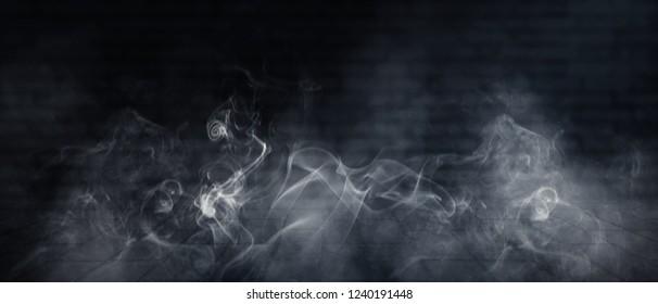 Background of empty brick wall, neon light, smoke, fog, night