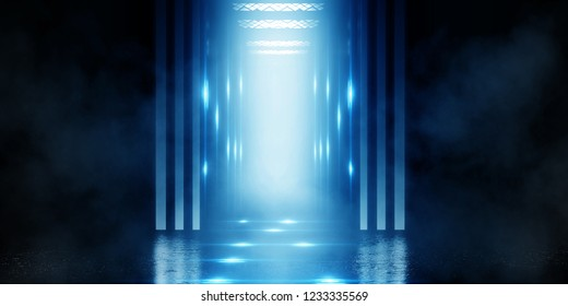 Background of empty brick wall and an open elevator door. Neon light, spotlight, smoke, smog