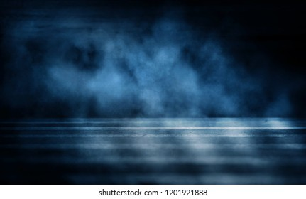 Background of an empty dark room. Empty walls, neon light, smoke, glow