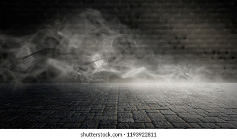 Background of an empty dark-black room. Empty brick walls, lights, smoke, glow, rays