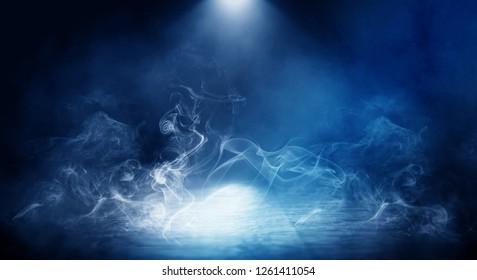 Background of empty foggy dark room, street, illuminated by the spotlight