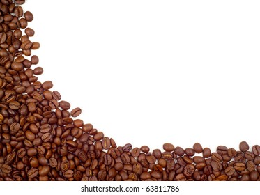 Background (empty frame) made of coffee beans