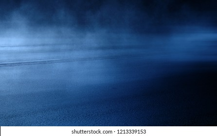 background of empty room at night, concrete floors and walls, neon light, fog, smoke, smog