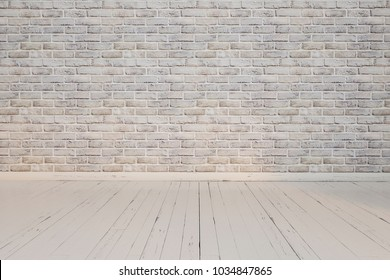 Background. Empty room. White brick walls, painted wooden floor. Perspective.
