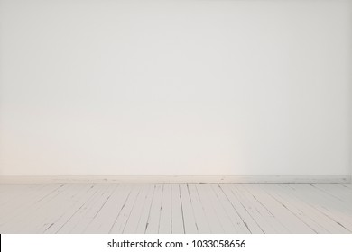 Background. Empty room. White walls, painted wooden floor. Perspective.