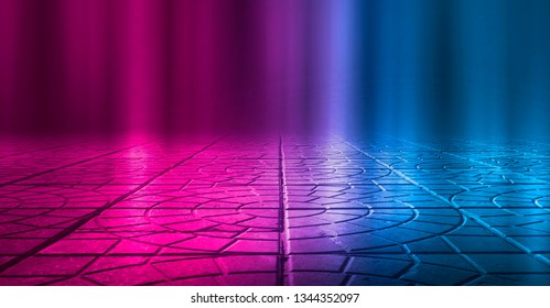 Background of empty street at night. Concrete paving slabs, illuminated by the light of multi-colored neon lamps. Fog, smoke