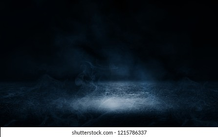 Background of empty street at night, neon light, asphalt, concrete, smoke, smog