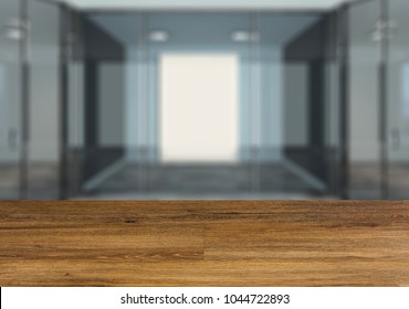 Background with empty wooden table. Flooring. Modern Blank  office Cabinet. Meeting room.