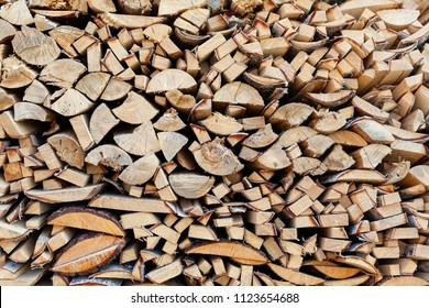 Background from end faces of the fresh wooden bars of a different form