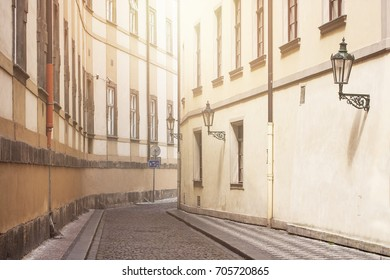 Background for European old towns. Prague street with old lamp.