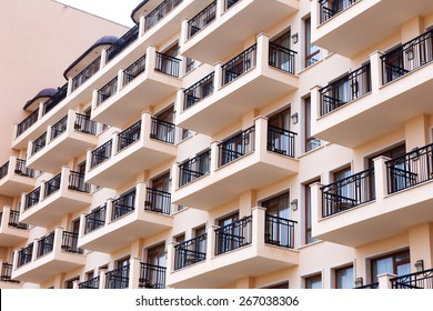 Background of the facade of residential building, the hotel's terraces