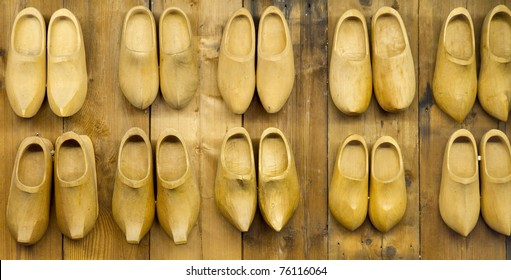 background of Famous traditional Dutch wooden clogs