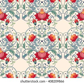Background with fantastic floral pattern.