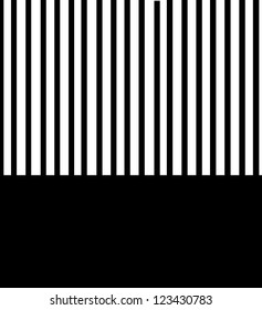 Background is filled with black and white stripes.  Bottom third has solid black.