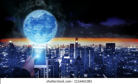 Background financial digital technology  network communication help world connect people globally with blockchain networking, online banking fintech transaction Element of this image furnished by NASA
