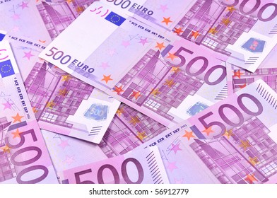 Background of five hundred euro banknotes