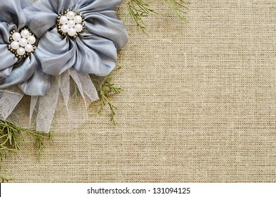 Background with a flower arrangement on canvas