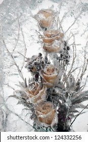 Background of flowers frozen in ice