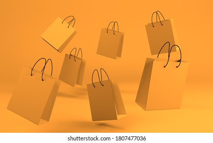 Background with flying paper bags. Seasonal sale concept. 3D render