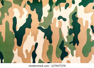 Background of foam rubber mat with military camouflage drawing.
