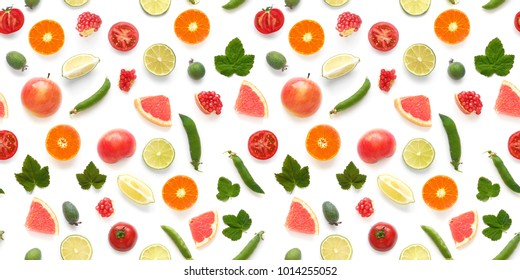 Background food texture. Seamless pattern of various fresh vegetables and fruits (grapefruit, currant leaf, green peas, tomato, apple, pomegranate) isolated on white background, top view, flat lay.