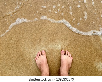 Background footprint on sand with water