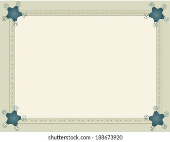 Background framed with beige ribbon blue arabesques.