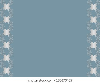 Background framed at the sides with silver grille spiral arabesques.
