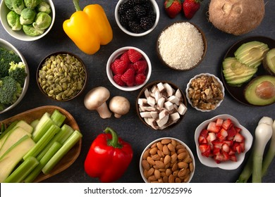 A Background of Fresh Fruits and Vegetables and Non Animal Protiens a Perfect Low Carb or Vegan Combination