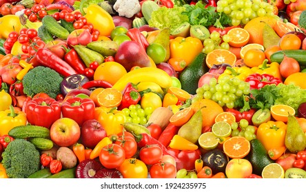 Background of fresh and healthy fruits and vegetables.