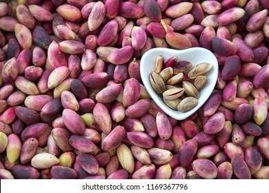 Background of fresh pistachio nuts