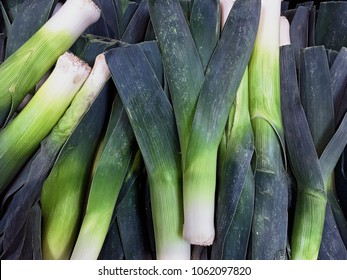 Background of fresh raw leeks