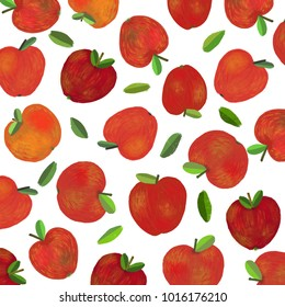 A background with fresh red apples and green tree leaves. A raster illustration.