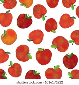A background with fresh red apples. A raster illustration.