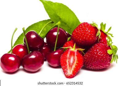 Background from fresh ripe strawberries and cherry.