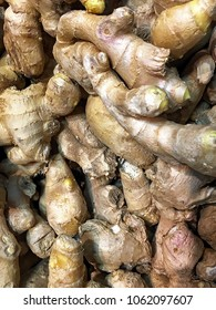 Background of fresh root ginger roots