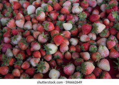 background from freshly harvested strawberries, directly above(Close-Up)