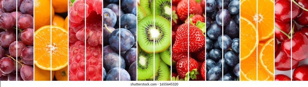 Background of fruits. Mixed ripe fruits and berries. Fresh food