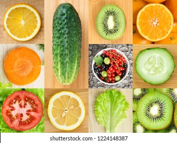 Background of fruits and vegetables. Top view. Fruits and vegetables slices