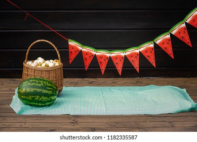 background with fruits and watermelons