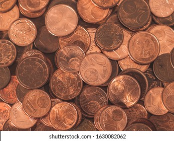background full of Euro cents, copper coin, one and two cents coin will be dismissed