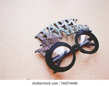 Background Funny glasses for celebrating the New Year holiday