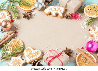 Background gifts, fir branches, cones, Christmas cookies and Chr