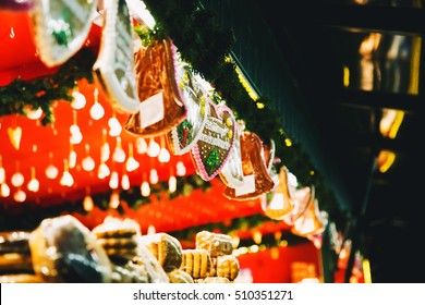 Background with gingerbreads at the Christmas market in Salzburg, Austria. Holidays, Christmas, Family, Winter concept.