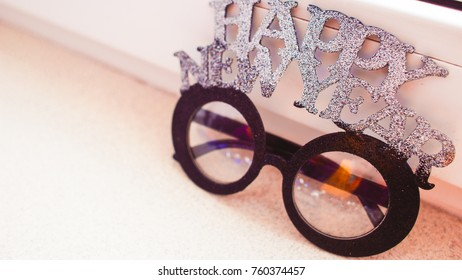 Background glasses for celebrating the New Year holiday and xmas