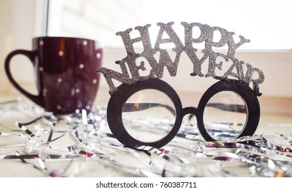 background glasses for celebrating the New Year holiday