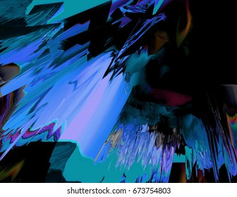 Background of glitch manipulations with 3D effect. Abstract flow of crystals with glass texture in blue and green shades. It can be used for web design and visualization of music