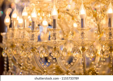 Background of glitter, colorful bokeh, chandeliers, crystal, chandelier , Emphasis on luxury, used in various places such as palace church, residence.