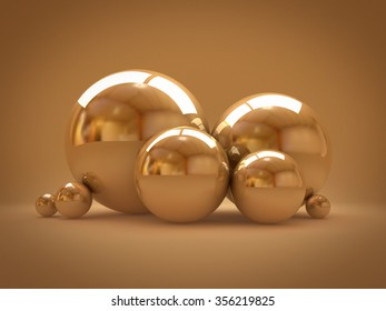 Background with golden balls